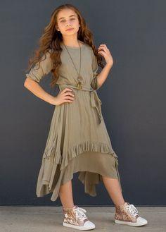 Karalee Midi Dress in Sage Green – Joyfolie Girls Summer Outfits, Dresses Kids Girl, Flower Girl Dresses, Children Dress, Dress Outfits, Girl Outfits, Fashion Dresses, Skater Outfits, Emo Outfits