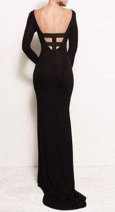 Black Bodycon Cage Back Backless Jersey Gown Train