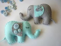 Dreamtime Baby Elephants - Baby Blue and Grey Felt Baby Mobile