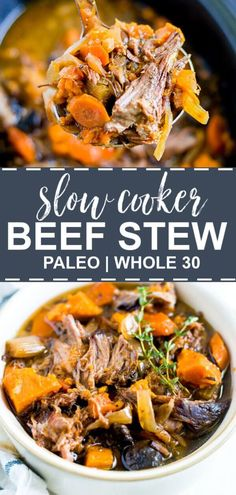 This slow cooker paleo beef stew is made with sweet potatoes and chuck roast. It's an easy comfort food that's healthy too! Throw everything in the crock pot so the veggies soften and the meat falls apart. This slow cooker pal Healthy Crockpot Recipes, Paleo Recipes, Healthy Winter Recipes, Healthy Fall Soups, Healthy Food, Healthy Eating, Cheap Recipes, Corn Recipes, Noodle Recipes