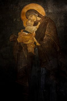 Virgin Mary, Chora Church, Istanbul, Turkey by Ihsan Gercelman on Byzantine Icons, Byzantine Art, Religious Icons, Religious Art, Paint Icon, Pictures Of Jesus Christ, Jesus Painting, Religious Paintings, Mary And Jesus