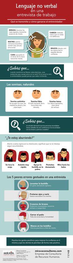 """Infografía """"Lenguaje no verbal en una entrevista de trabajo"""", realizada por nuestra agencia para Mirava Consultores. #empleo #infografías #diseño"""