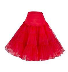 DaisyFormals® Petticoat Crinoline Retro Vintage Swing 1950's Rockabilly Slip- Red,SM