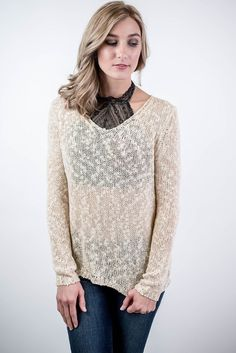 If you are looking for sexy or casual, the Cream Marled Knit Sweater is what you've been looking for! Pair this knit top with a high neck barrette for a sexy night out or pair with a cami for a casual class or work look! Cream Marled Knit Sweater - Single Thread Boutique, $44.00 #cream #marled #knit #sweater #long #sleeve #v #neck #semi #sheer #off #shoulders #casual #sexy #womens #fashion #winter #trendy #singlethreadbtq #shopstb #boutique