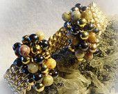 On Sale Brass Beaded Wire Woven Cuff Bracelet size 6 1/2