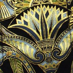Gold Blue Green Black Guitar Strap Egyptian Lotus and Papyrus ...