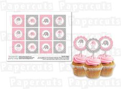 Printable DIY Personalized Pink and Grey Elephant Theme Baby Shower Cupcake Toppers. $5.00, via Etsy.