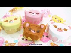 """soft sponge squishies, iBloom, slow rising, dessert, Slow rising! Licensed product. cute pink tea time bear squishy, for a gift, to play with etc. This squishy comes in its original packaging! strawberry scented! By iBloom. , super cute design. size: ca. 11.4cm (4.5""""). Kawaii Shop, Squishies, Melanie Martinez, Cute Pink, Cute Designs, Tea Time, Strawberry, Super Cute, Banana"""