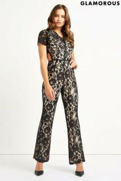 992730e0055 Glamorous V neck Hourglass Jumpsuit Black Size UK 12 RRP 55 Box46 82 A   fashion