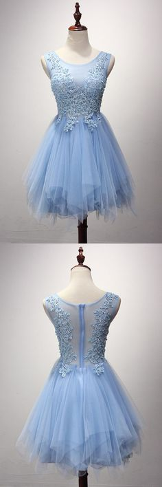 Charming Prom Dress,Light Blue Tulle Prom Dresses,Sexy Prom
