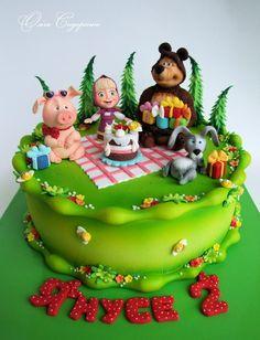 Фотография 4th Birthday Cakes, Girl 2nd Birthday, Masha Cake, Masha Et Mishka, Bolo Panda, Bear Cookies, Masha And The Bear, House Cake, Fondant Decorations