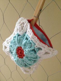 Crochet Coin Purse - Granny Square Purse - Crochet Pouch