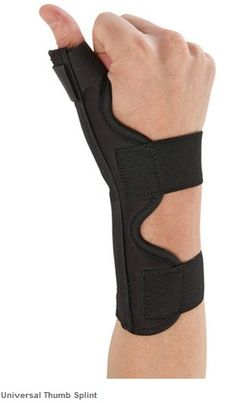 OSSUR Universal Thumb Splint is a universally fitting thumb spica splint that immobilizes the thumb joint while still providing additional wrist support. The thumb splint's foam padding is breathable and its lining reduced heat.