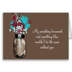 Be My Bridesmaid - Mason Jar and Wildflowers Greeting Card