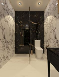 Black and white themed guest bathroom of the Georgian house design in South Bowenfels, Australia, the gold veined black marble matches the bathroom fixtures and accessories, while the grey veined white marble walls complement the black vanity, by CAS. Washroom Design, Toilet Design, Bathroom Design Luxury, Modern Bathroom Design, Modern Luxury Bathroom, Bad Inspiration, Bathroom Inspiration, Bathroom Ideas, Bathroom Organization