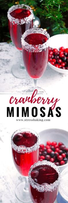 A cranberry lover's version of the standard mimosa. Tart cranberries pair perfectly with a sugar-rimmed glass and sparkling champagne bubbles! The perfect holiday cocktail or Christmas cocktail. Easy Cocktails, Cocktail Drinks, Cocktail Recipes, Drinks With Champagne, Whiskey Drinks, Champagne Glasses, Cranberry Cocktail, Cranberry Liquor Recipe, Pomegranate Cocktails