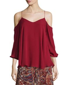 HAUTE HIPPIE COLD-SHOULDER SILK CHIFFON BLOUSE, RUBY. #hautehippie #cloth #