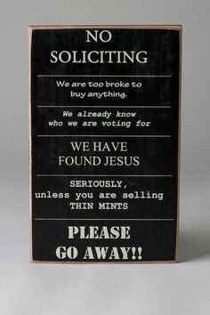 No Soliciting Small Plaque