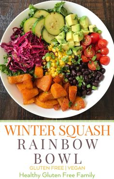 An easy plant-based dinner big on flavor! Spiced and Roasted Butternut Squash, Quick and Easy pickled cabbage and pickled cucumbers, avocado, black beans, corn and tomatoes. #glutenfree