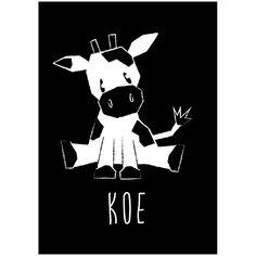 Kaart koe zwart-wit.Deze dierenkaart in stoer zwart wit is niet alleen leuk om neer te zetten of aan de muur te hangen, maar natuurlijk ook om naar een kleine dierenvriend op te sturen
