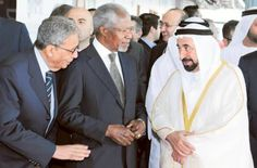 Dr Shaikh Sultan Bin Mohammad Al Qasimi talks to Kofi Annan, former UN secretary general and Amr Mousa, former general secretary of the Arab League, at the Government Communication Forum 2013, at the Expo Centre, Sharjah.