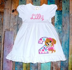 Personalized Dress Skye Paw Patrol by OhSoStellaEmbroidery Girl Paw Patrol Party, Paw Patrol Birthday Girl, Puppy Birthday, Paw Patrol Shirt, Cumple Paw Patrol, Second Birthday Ideas, Bday Girl, Birthday Shirts, Birthday Stuff