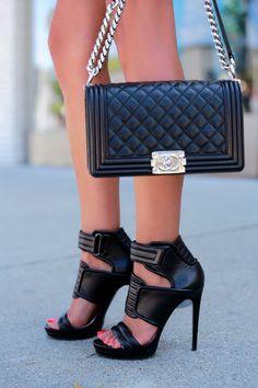 VIVALUXURY - Barbara Bui Leather Sandals + Chanel Boy Bag
