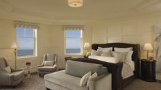 Sweeping ocean views from the master bedroom in The Ritz-Carlton Suite at The Ritz-Carlton, Half Moon Bay