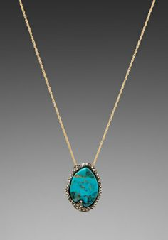 Alexis Bittar, Cordova Gold & Antique Rhodium Small Turquoise Pendant $158.00 sale