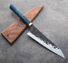 Buckeye Burl Forged Chef Knife handmade by James Oatley.