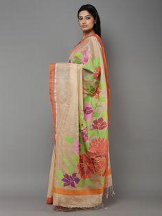 Beige Green Handwoven Banarasi Cotton Saree