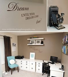 I love this... and have a similar office set up.  I also have inspirational decal words on my walls - like this
