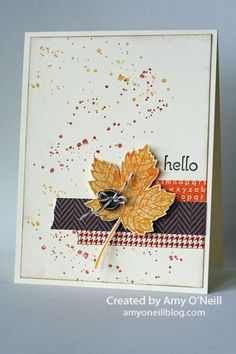 by Amy O'Neill, Amy's Paper Crafts Stampin up Fall card with washi tape and button. Fall Cards, Holiday Cards, Washi Tape Cards, Envelopes, Leaf Cards, Thanksgiving Cards, Cute Cards, Cards Diy, Halloween Cards