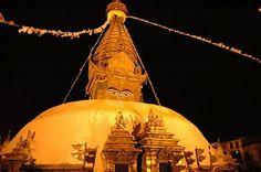 Swayanbunath with lightup  Kathmandu, Nepal