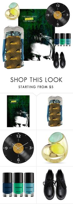 """The Men Who Saved the World"" by perunica ❤ liked on Polyvore featuring WALL, Prada, Miadora, Napoleon Perdis, yellow, Blue, GREEN and bowie"