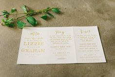 Gold foil stamped Cimarron save the date trifold, as seen on Green Wedding Shoes! | Photography by Kate Ignatowski