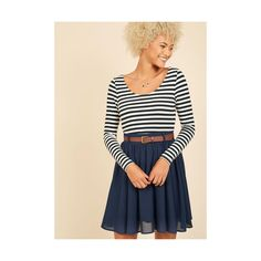 Long Sleeve Fit & Flare Department Director Dress (£47) ❤ liked on Polyvore featuring dresses, apparel, fashion dress, multi, navy dress, navy blue fit and flare dress, stripe dresses, navy blue long sleeve dress and navy blue striped dress