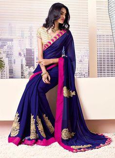 Awesome Blue #Chiffon #Saree