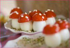 tomato and Mozzarella mushrooms! how cute :)