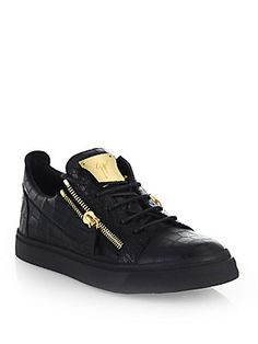 Giuseppe Zanotti Leather Croc-Embossed Low-Top Sneakers