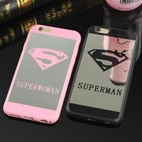 Wish | Superman Superwoman LOGO Mirror Phone Case Soft Silicone Couple Lovers Back Cover for iPhone 5 5S SE / 6 6S / Plus / 7 7 Plus