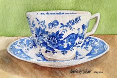 Blue and white teacup watercolor