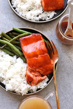 Whip up this amazing Honey Sriracha Salmon in just 8 minutes. All you need are 4 ingredients, and your oven broiler to make this protein-packed dinner. Baked Salmon Recipes, Fish Recipes, Seafood Recipes, Vegetarian Recipes, Dinner Recipes, Healthy Recipes, Clean Recipes, Dinner Ideas, Seafood