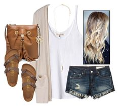 """""""but in the end, they all drift away, even the ones who promise to stay."""" by kaley-ii ❤ liked on Polyvore featuring Rebecca Taylor, rag & bone/JEAN, Birkenstock, MICHAEL Michael Kors and Forever 21"""