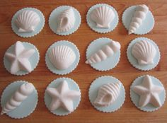 Sea Shell Cupcake Toppers for Ellie's first birthday party. Fondant Cupcake Toppers, Cupcake Art, Cupcake Cakes, Cupcake Ideas, Cup Cakes, Seashell Cupcakes, Fun Cupcakes, Birthday Cupcakes, Little Mermaid Wedding