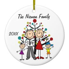 Shop Dad, Mom, Boy, Girl Custom Holiday Ornament created by christmasshop. Penguin Ornaments, Snowman Ornaments, Holiday Ornaments, First Christmas Together Ornament, Babies First Christmas, Wedding Ornament, Group Art, Personalized Ornaments, Stick Figures