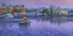 Water Taxi and the Victoria Harbour Victoria Harbour, Taxi, German, Journal, Fine Art, Water, Painting, Image, Deutsch