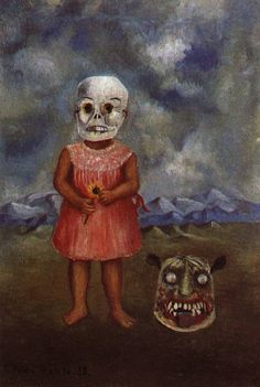 girl with death mask | Girl With Death Mask 1 1938 Painting by Frida Kahlo | Oil Painting