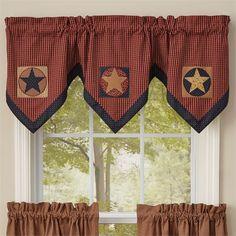 Lined window valance with patchwork star blocks set on homespun barn red check fabric accented by a navy border. Buy New England style Curtains, Quilts, Rugs, Cushions and Gifts online in the UK at Olde Glory American Country Store. Plaid Curtains, Valance Curtains, Natural Curtains, Primitive Curtains, Primitive Stars, New England Style, Check Fabric, Snowflake Designs, Parking Design