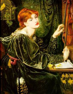 """Veronica Veronese by Dante Gabriel Rossetti 1872. Believed to represent """"the artistic soul in the act of creation""""."""